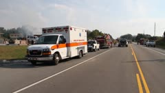 ambulance fire trucks - stock footage