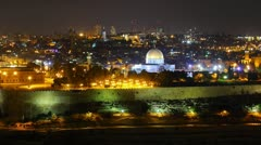 Skyline of Jerusalem Dome of the Rock at night time lapse Stock Footage
