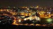 Skyline of Jerusalem, the Jewish Quarter at night time lapse Stock Footage