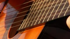 Strumming, Playing Acoustic Guitar Extreme Close Up - stock footage
