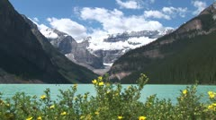WorldClips-Lake Louise Flowers-Mountain-Boat Stock Footage