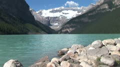 Stock Video Footage of WorldClips-Lake Louise Rocky Shore-xws