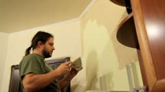 Master applies decorative plaster on the wall. Stock Footage