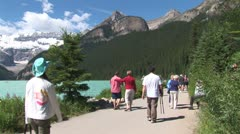 Stock Video Footage of WorldClips-Lake Louise Walkway-ws