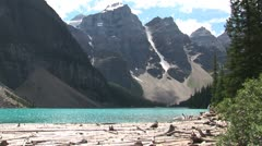 WorldClips-Moraine Lake Log Jam-pan-zoom Stock Footage