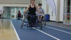 Backwards Wheelchair Race(HD)c Stock Footage
