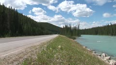 WorldClips-Road to Lake Louise Traffic Stock Footage