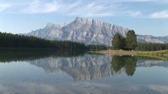 WorldClips-Two Jack Lake Reflection-ws Stock Footage