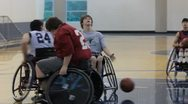 Stock Video Footage of Teens in Wheelchairs Playing Basketball(HD)c