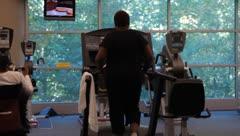 Woman Walking on Treadmill(HD)c Stock Footage