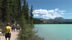 Stock Video Footage of WorldClips-Walkway to Chateau Lake Louise