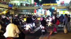 Scooters at Intersection in Taipei, Taiwan - stock footage