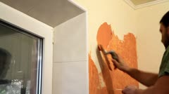 Master applies colored wax on ornamental plaster. Stock Footage