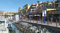 WorldClips-Cabo Marina Cafes Walkway Stock Footage