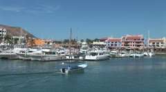 WorldClips-Cabo Marina Water Taxi-zoom Stock Footage