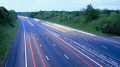 Motorway with car headlights - stock footage