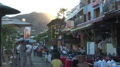 WorldClips-Sunset Marina Cafes Stock Footage