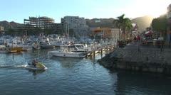 WorldClips-Sunset Marina Waverunner Stock Footage