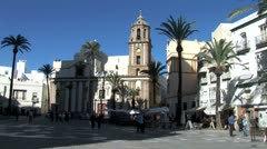 WorldClips-Cadiz Cathedral Plaza-ws Stock Footage
