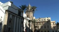 Stock Video Footage of WorldClips-Cadiz Cathedral Steeple-ws