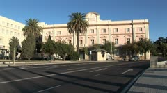 WorldClips-Cadiz Coast Road Traffic-Park-pans Stock Footage