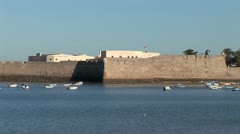 WorldClips-Cadiz Palace Spanish Ramparts-Beach-zoom - stock footage