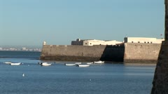 WorldClips-Cadiz Spanish Ramparts-Beach-zoom - stock footage