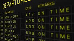 US Domestic Airport Timetable All Flights On Time 04 Stock Footage