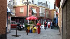 WorldClips-Cadiz Walkway Intersection-zooms Stock Footage