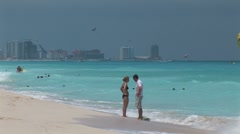 WorldClips-Cancun Beach Couple-ws Stock Footage