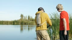 Fishing lesson Stock Footage