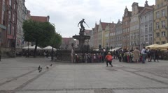 Neptune Fountain in old Town in Gdansk, Poland Stock Footage