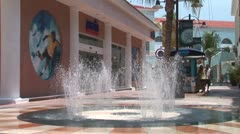 WorldClips-Cancun Mall Fountain Sprays-ws-zooms Stock Footage