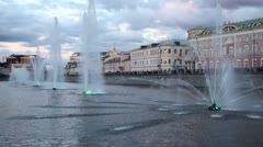 Fountains with illumination in Obvodnoy channel at evening Stock Footage