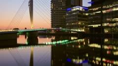 Media city reflections at dusk Stock Footage