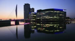 Media city reflections at dusk. Stock Footage