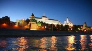 Red brick walls of Kremlin and Ivan Great Bell Tower at night Stock Footage