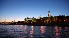 Riverside and red brick walls of Moscow Kremlin and Ivan Great Bell Tower Stock Footage