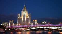 High-rise building of the Stalin era is located on Kotelnicheskaya Quay Stock Footage