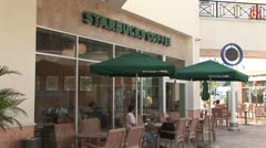 WorldClips-Cancun Starbucks-zoom Stock Footage