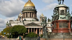 ZOOM: St. Isaac's Cathedral, St. Petersburg, Russia (timelapse) - stock footage