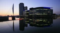 Media city reflections at dusk Stock Footage