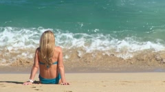 Blonde at the Beach 1 - stock footage