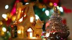 Fabulous toy house with Santa Claus and small Christmas tree Stock Footage