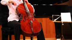 Narek Hakhnazaryan plays cello in Museum of Musical of Culture named Glinka Stock Footage