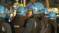 Slow motion Italian riot police Stock Footage