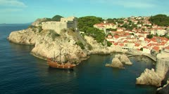 dubrovnik with pirate ship - stock footage