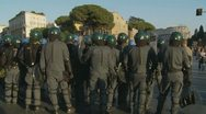 Stock Video Footage of Riot police turn holding batons, Rome