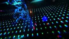 Large LED screen with changing picture in nightclub Stock Footage