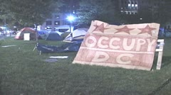 (HD version) Night at Occupy Wall Street Stock Footage